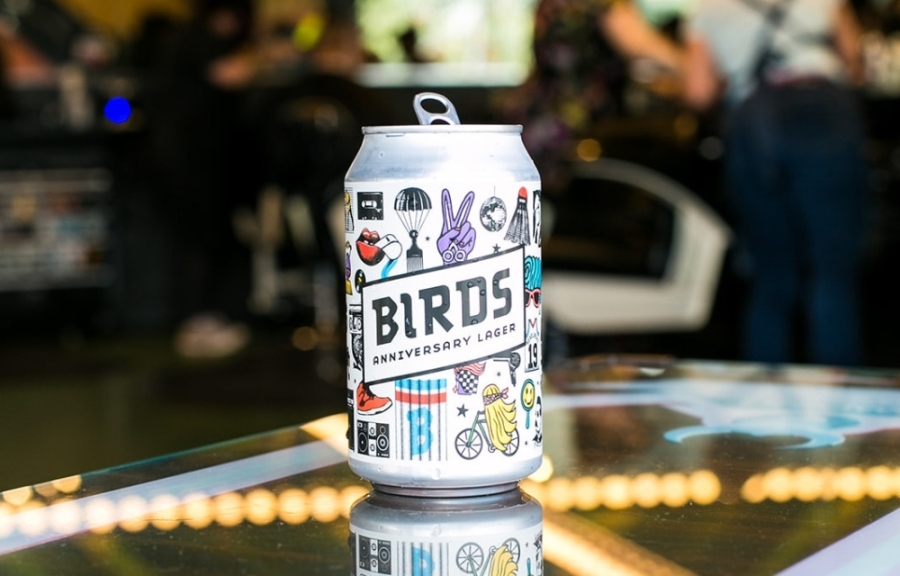 Austin-based brewery Independence Brewing created Birds Anniversary Lager in collaboration with Birds.