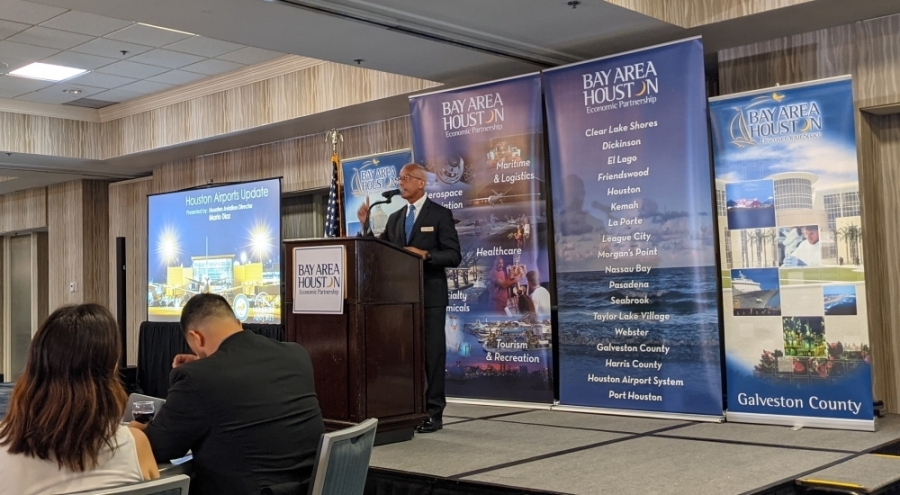 Houston Airport System Director Mario Diaz spoke during a Bay Area Houston Economic Partnership meeting June 2 about the future of the spaceport. (Jake Magee/Community Impact Newspaper)