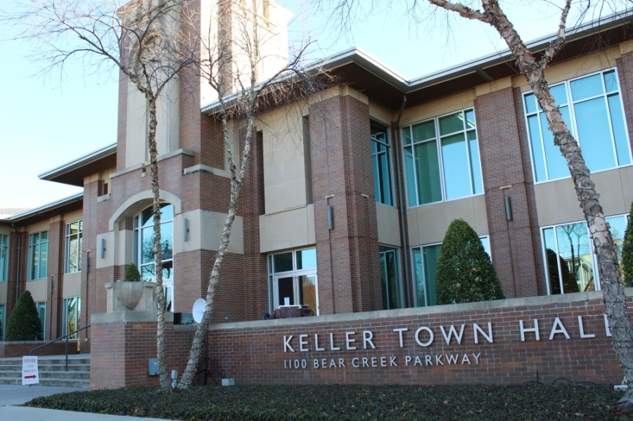the exterior of Keller Town Hall