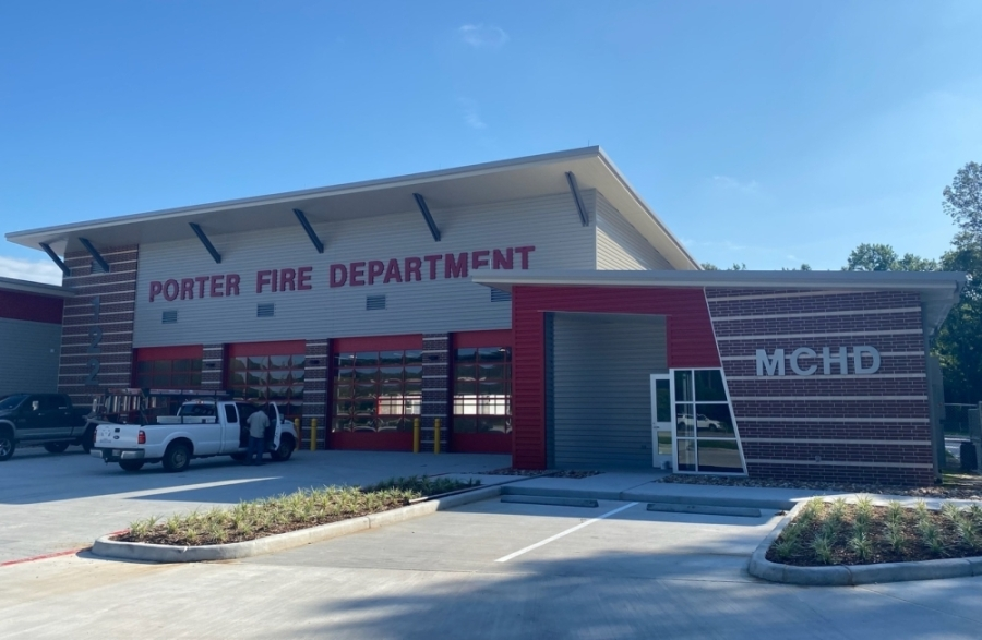 The new Porter Fire Station, scheduled to open in July, will have the capacity to house additional firefighters and emergency medical services workers. (Wesley Gardner/Community Impact Newspaper)
