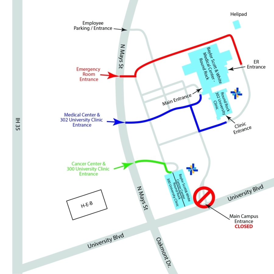 map of the entrance to Baylor Scott & White Health Round Rock