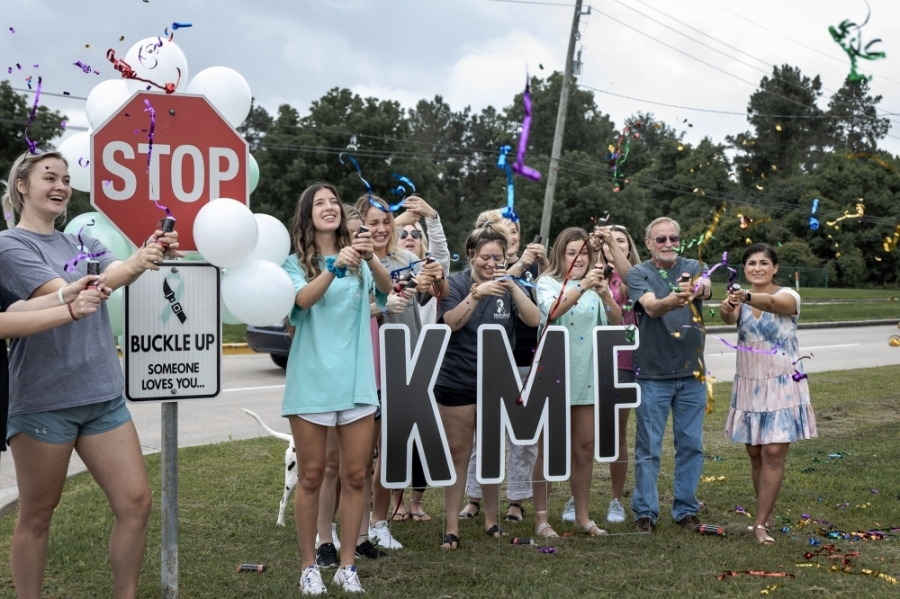 The sign installation initiative culminated with a celebration May 28 at Klein Collins High School, which followed Kailee Mills' birthday May 27. (Courtesy Kailee Mills Foundation)