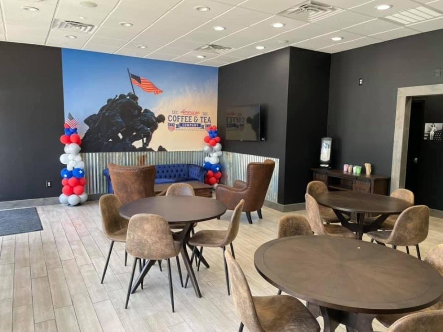 coffee shop with patriotic decor