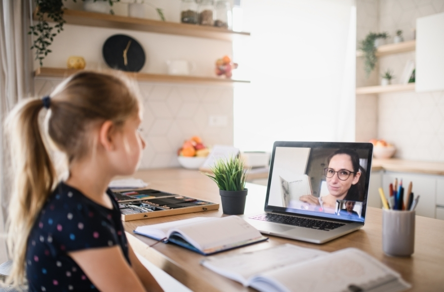 student studies in online learning