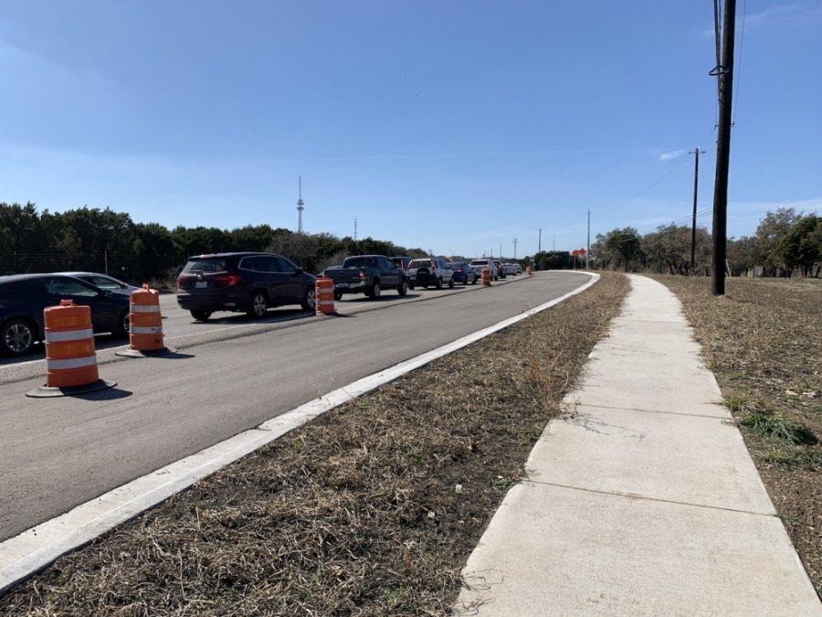 An ongoing improvement project to increase capacity on RM 2222 is expected to be completed in late 2021. (Greg Perliski/Community Impact Newspaper)