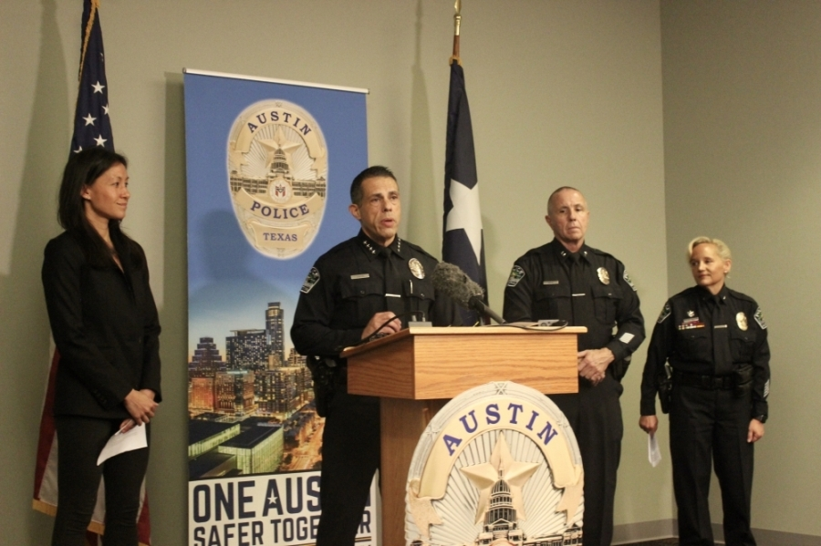 Austin Police Department Interim Chief Joseph Chacon (center) was joined by cadet training academy leadership June 9 to discuss the program's relaunch this month. (Ben Thompson/Community Impact Newspaper)