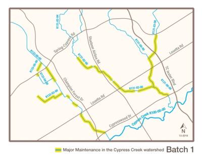 The project will be constructed in six to eight phases, or batches, with the first batch of project repair sites being located primarily between Spring Cypress Road and Cypresswood Drive in the 77379 ZIP code area. (Courtesy Harris County Flood Control District)