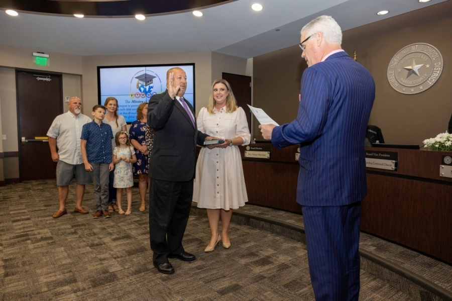 Humble ISD Trustee Robert Sitton took his oath of office for his final four-year term on June 8. (Courtesy Humble ISD)