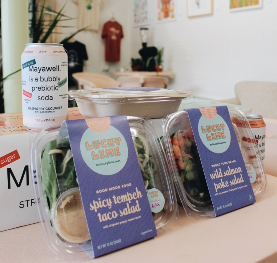 Photo of a canned drink and boxed meals