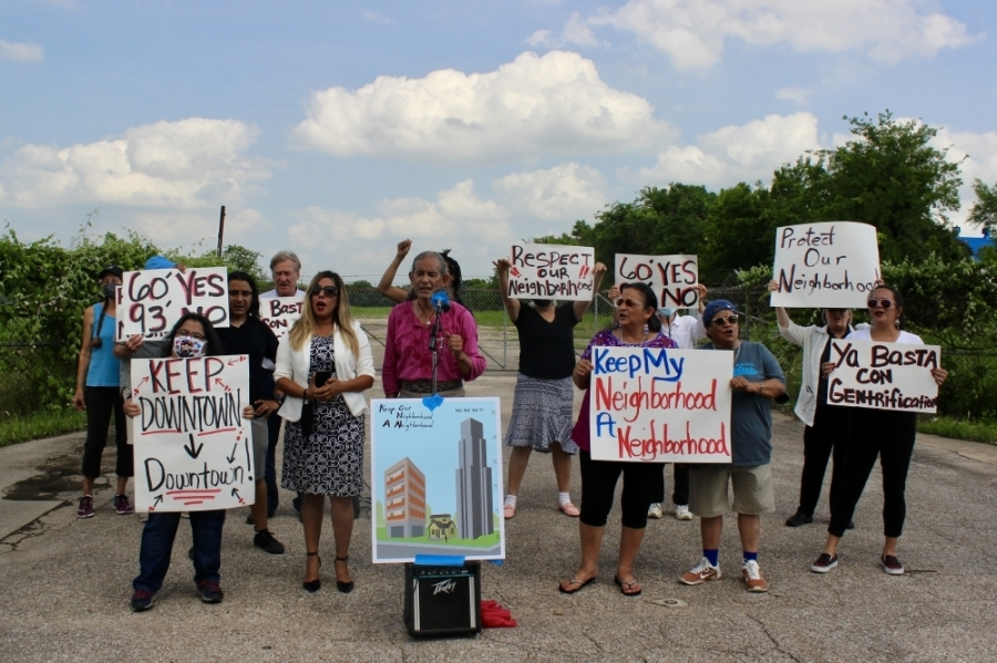 Daniel Llanes, chair of the Govalle/Johnston Terrace Combined Neighborhood Plan Contact Team, led a demonstration against the rezoning of the proposed Springdale Green PUD site June 9. (Ben Thompson/Community Impact Newspaper)