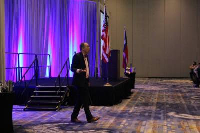 Economist Elliot Eisenberg spoke about the economic recovery post-pandemic, saying this year's GDP growth will be the best since the 1950s. (Brooke Ontiveros/Community Impact Newspaper)