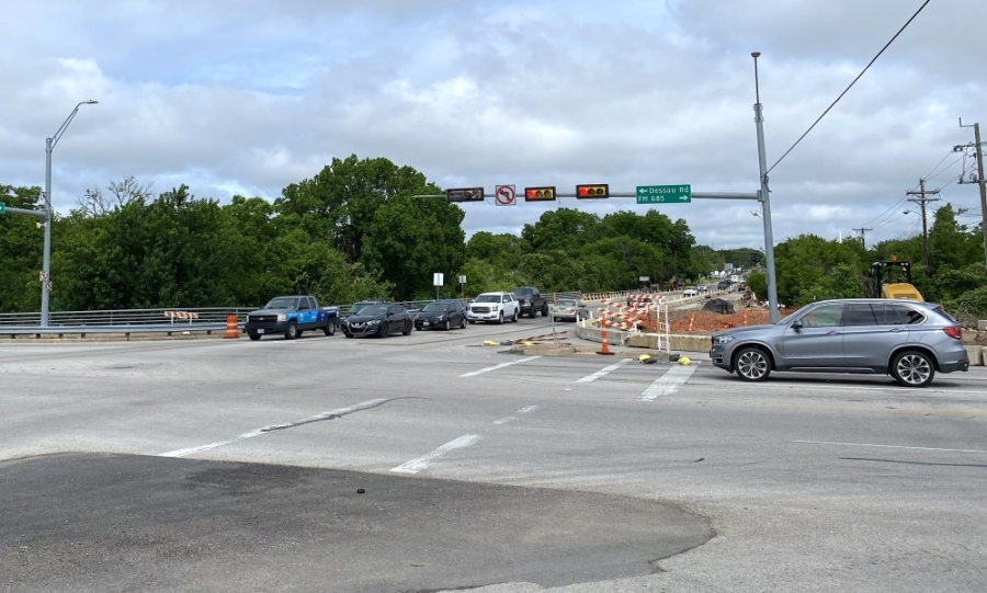 Work began in April on the intersection of FM 1825/Pecan Street at FM 685/Dessau Road in Pflugerville. (Trent Thompson/Community Impact Newspaper)