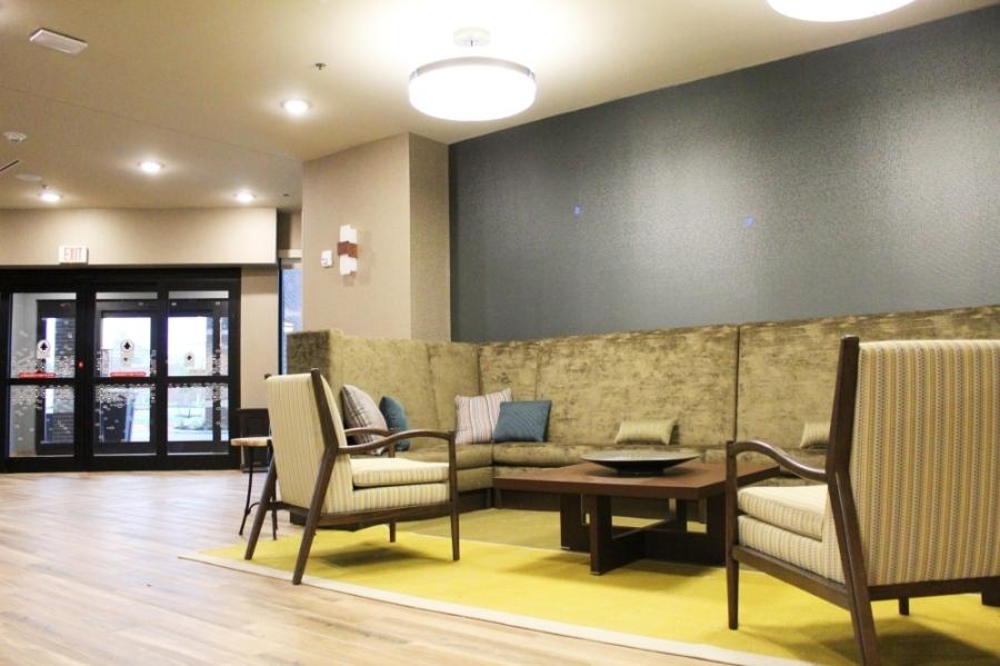 The lobby at Hampton Inn & Suites