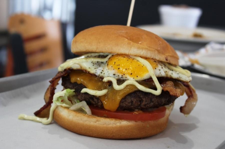 The Nooner ($8.99) is the top-selling menu item at JC's Burger House.  (Karen Chaney/Community Impact Newspaper)