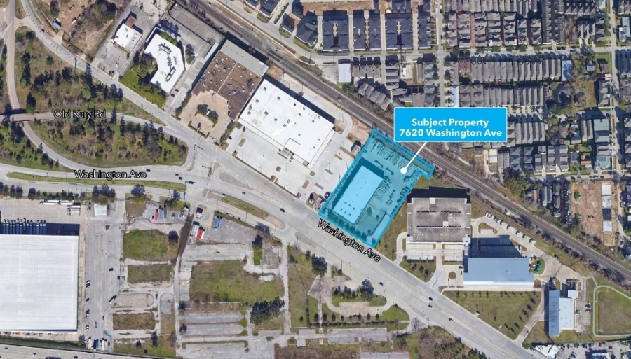 The property at 7620 Washington Ave.—formerly a brick and construction material supply business—includes a 12,595-square-foot showroom and a 19,250-square-foot warehouse. (Courtesy Henry S. Miller Companies)