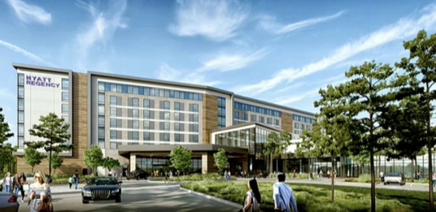 The hotel, located in Grand Central Park, will include a convention center, pool, fitness center and ballroom. (Rendering screenshot via Conroe City Council livestream)