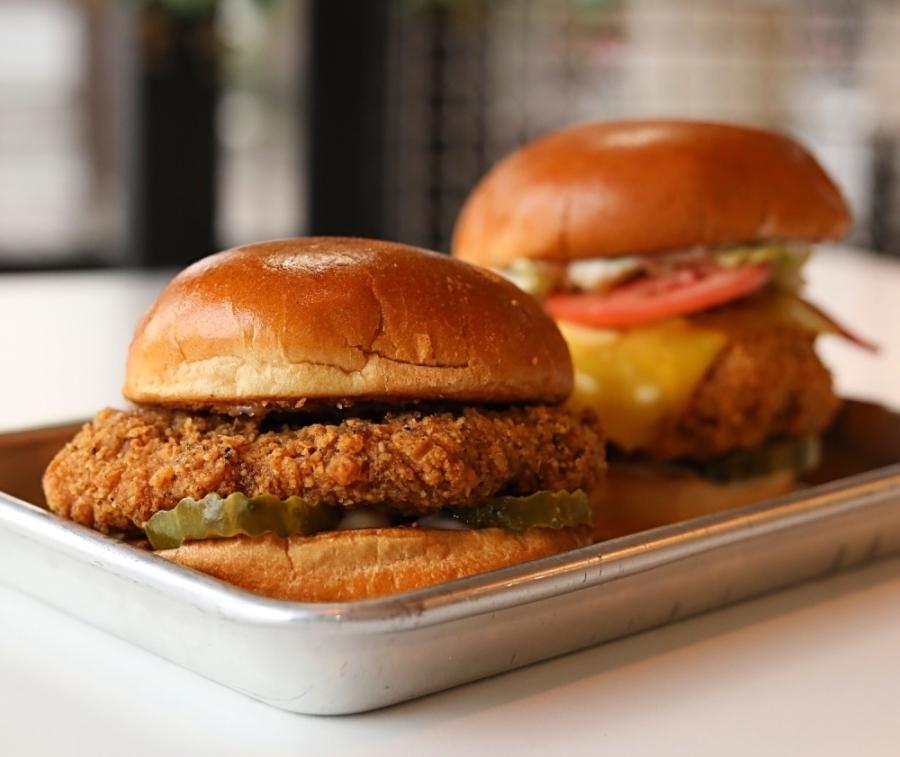 Photo of two vegan chicken sandwiches