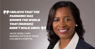 Missouri City resident Jackie Ward became the chief nursing officer at Texas Children's Hospital in January. (Photo by Michael Carr Photography, graphic by Chase Brooks/Community Impact Newspaper)