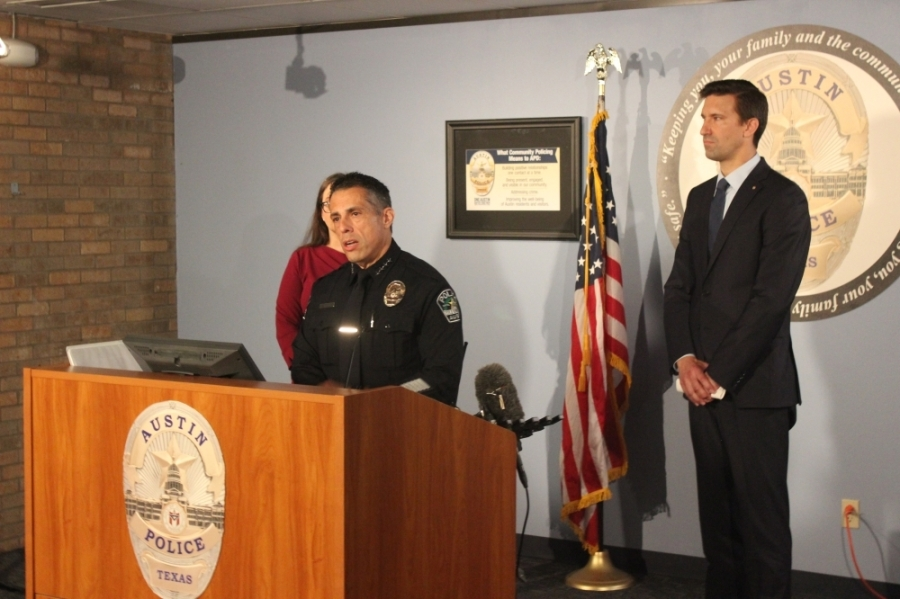 Joseph Chacon, interim chief of the Austin Police Department, gives an update on Austin's recent move into the second phase of Proposition B camping ban enforcement June 15 alongside Homeless Strategy Officer Dianna Grey and City Manager Spencer Cronk. (Ben Thompson/Community Impact Newspaper)
