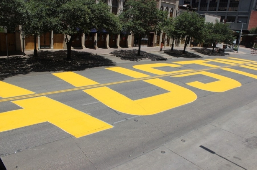 """Community groups painted """"Black Austin Matters"""" along three blocks of Congress Avenue in 2020. Juneteenth, an official city of Austin holiday as of 2020, commemorates the day Black residents of Texas found out they were free from slavery in 1865. (Community Impact Newspaper staff)"""