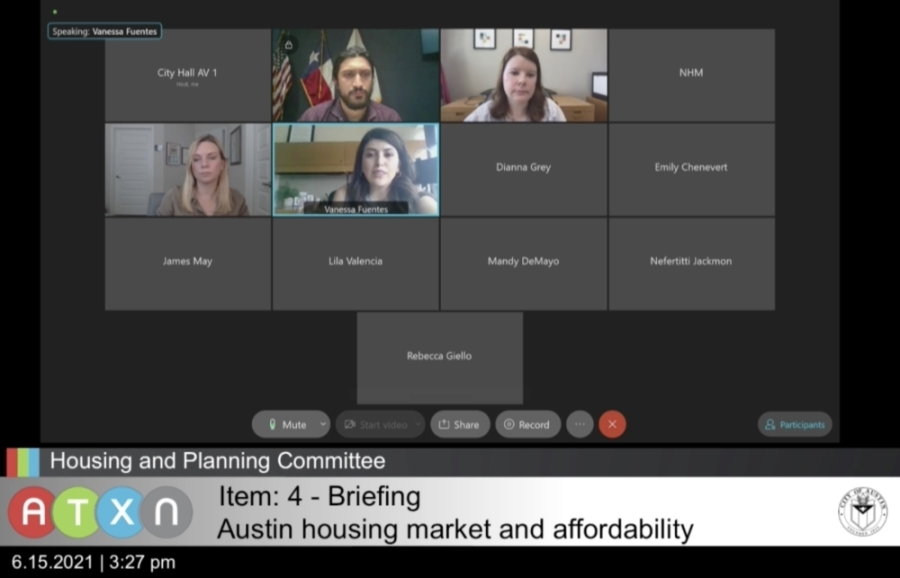 Austin City Council's Housing and Planning Committee met virtually June 15. (Screenshot via City of Austin)