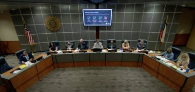 The Conroe ISD board of trustees discussed federal emergency funds and virtual schooling at its June board meeting. (Screenshot via YouTube)
