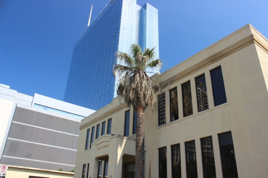 Austin's downtown Palm District is home to several modern and historic landmarks, including the Palm School building now home to Travis County offices. (Ben Thompson/Community Impact Newspaper)