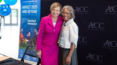 Alvin Community College President Christal Albrecht (left) and University of Houston-Clear Lake President Ira Blake signed an articulation agreement expansion June 10 that will allow ACC associate degree students to co-enroll in UHCL's Bachelor of Science in nursing program. (Courtesy University of Houston-Clear Lake)