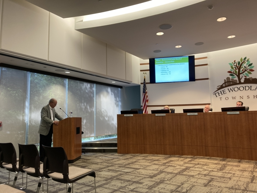Don Norrell presented information about water and sewer utilities in post-incorporation scenarios at the June 17 meeting of The Woodlands Township board of directors. (Vanessa Holt/Community Impact Newspaper)