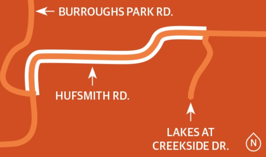 The project that will upgrade Hufsmith Road between Burroughs Park Road and Lakes at Creekside Drive by adding a second access road to Burroughs Park and incorporate intersection improvements and traffic signal modifications as needed. (Ronald Winters/Community Impact Newspaper)