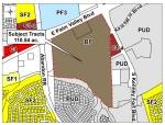 The 110.54 acre tract of land at the intersection of E. Palm Valley Boulevard and S. Kenney Fort Boulevard has been recommended for rezoning to urban style mixed use by the Round Rock Planning and Zoning Commission. (Courtesy City of Round Rock)