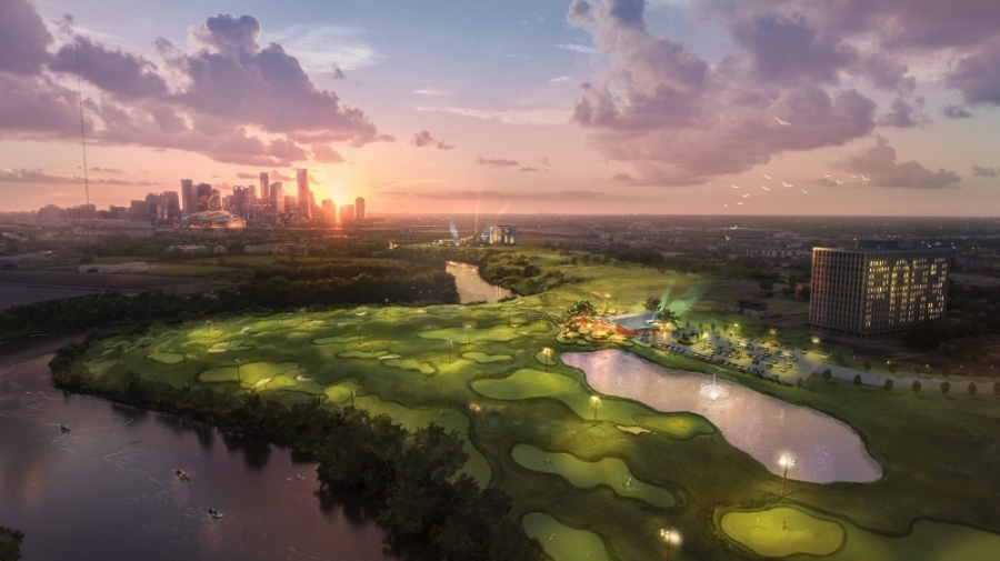 The East River 9 golf course and Riverside Houston restaurant will be overlooking the city of Houston skyline. (Rendering of Riverhouse Houston; Courtesy of Sterling Illustration)