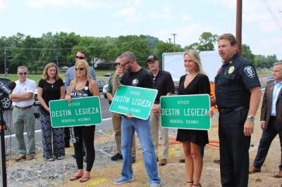 Officials and members of Legieza's family attended a ceremony June 18 to name a portion of Franklin Road in his honor. (Wendy Sturges/Community Impact Newspaper)