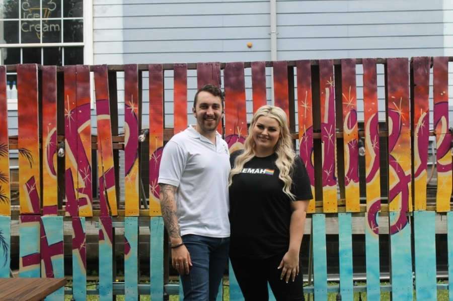 Several Pride Kemah events were hosted at Colton Trout's business on Bradford Avenue. Shannan Peterson helped coordinate the events. (Colleen Ferguson/Community Impact Newspaper)