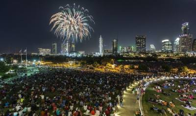 Photo of fireworks in downtown Austin