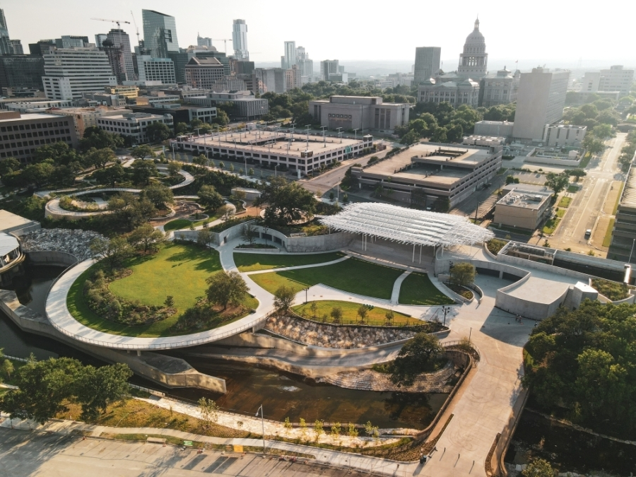 Waterloo Park will open to the public Aug. 14 with a daylong festival, and its Moody Amphitheater is set to host its first ticketed concert Aug. 20. (Courtesy Waterloo Greenway Conservancy)