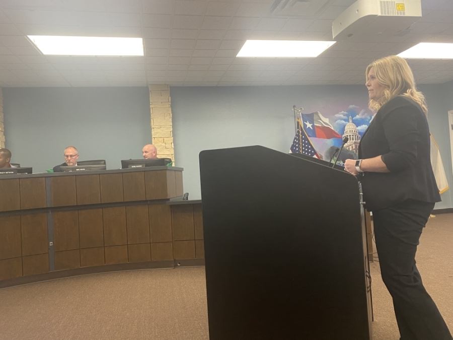 Pflugerville Chamber of Commerce CEO Shontel Mays addressed City Council June 22. (Brian Rash/Community Impact Newspaper)