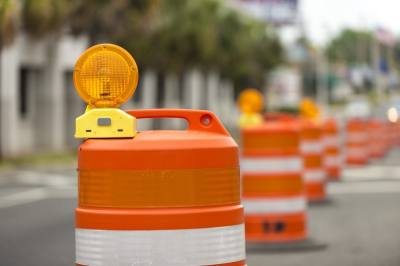 orange traffic barrels