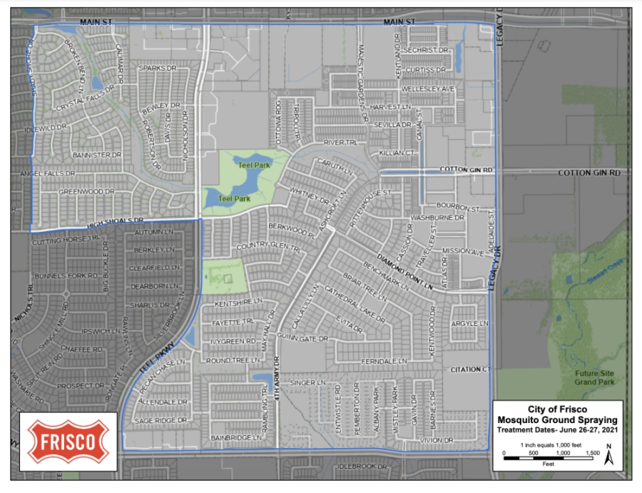 Frisco will be spraying from June 26-28 in an area near Copper Point Lane in the Village Lakes neighborhood. (courtesy city of Frisco)