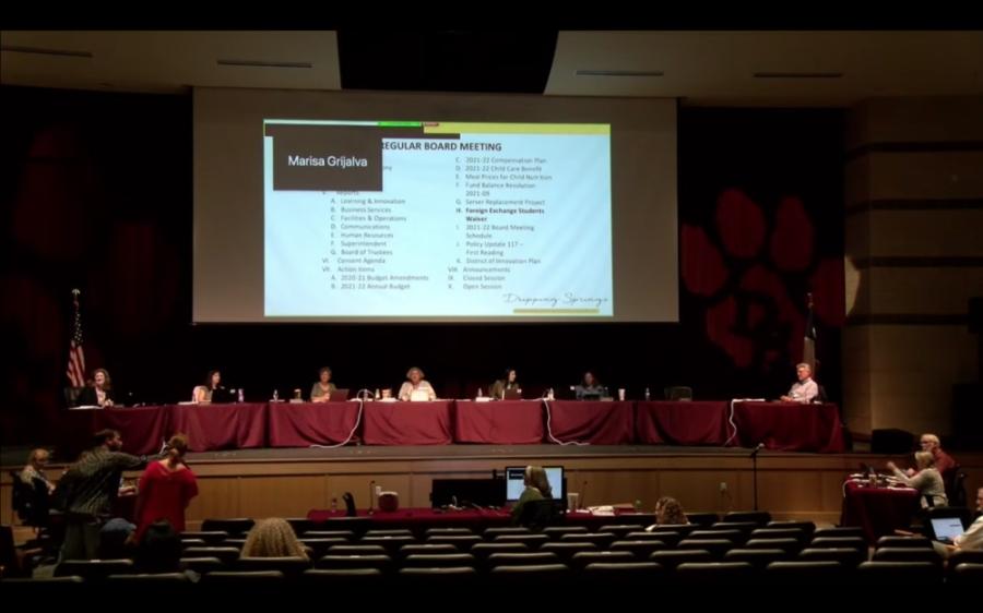 A screenshot of a school board meeting.