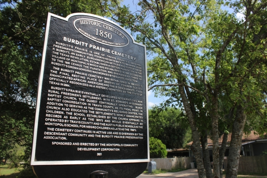 The cemetery's new historical marker was unveiled by the Montopolis Commuunity Development Corporation June 18. (Ben Thompson/Community Impact Newspaper)