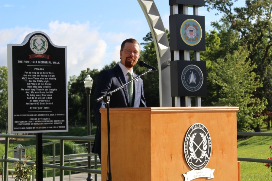 State Rep. Will Metcalf, R-Conroe, announced June 29 that $7 million from the state budget will be given to Montgomery County Veterans Memorial Park. (Chandler France/Community Impact Newspaper)