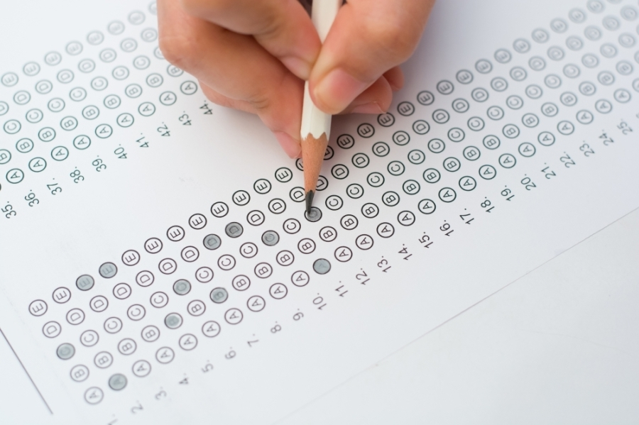 hand bubbling in standardized test form