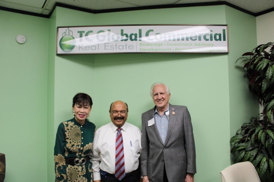 Stafford City Council Member Alice Chen, TC Global Commercial Broker Taro Chellaram, and Mayor Cecil Willis attended the June celebration. (courtesy TC Global Commercial)