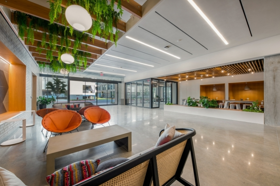 The East Austin campus's two office buildings are now open to tenants. (Courtesy Aquila Commercial)