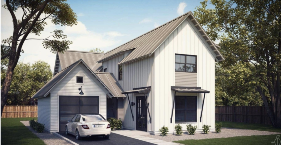 This rendering is an example of one of the 60 planned Farmhaus homes. (Courtesy Chupik Properties)