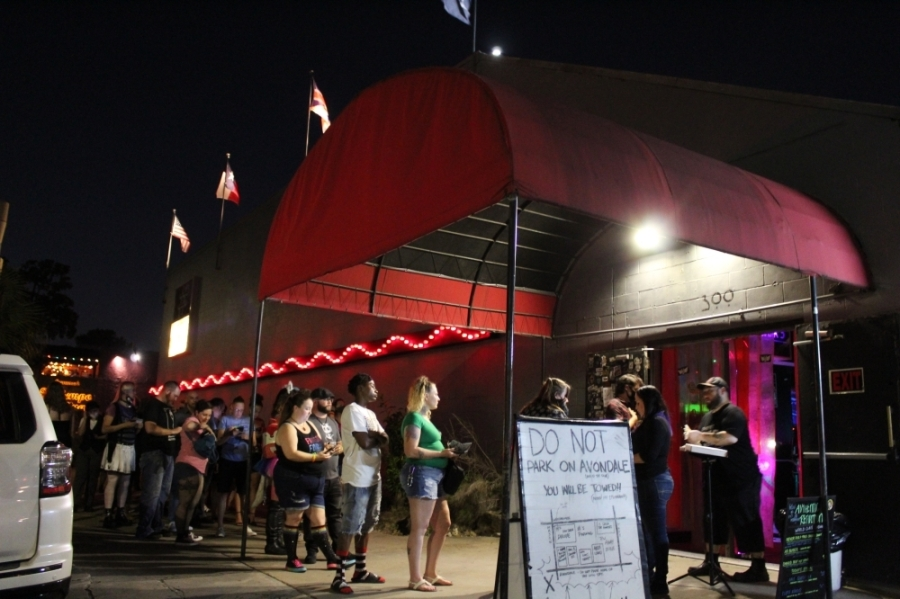 Guests line up outside of Numbers Night Club in Montrose, which reopened in May after 14 months of being closed. (Shawn Arrajj/Community Impact Newspaper)