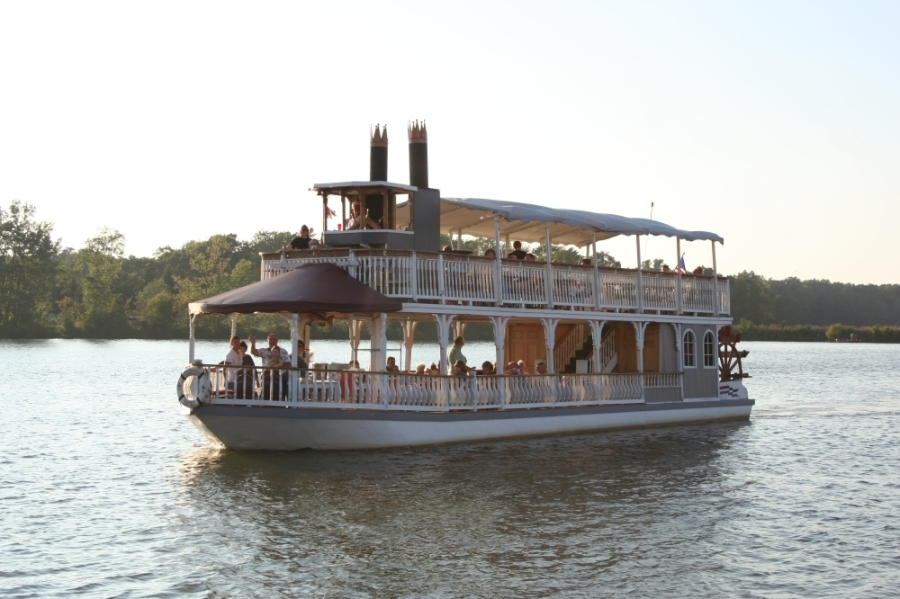 The Lake Conroe Queen is a 60-passenger, double-deck paddleboat. (Courtesy Lake Conroe Queen)