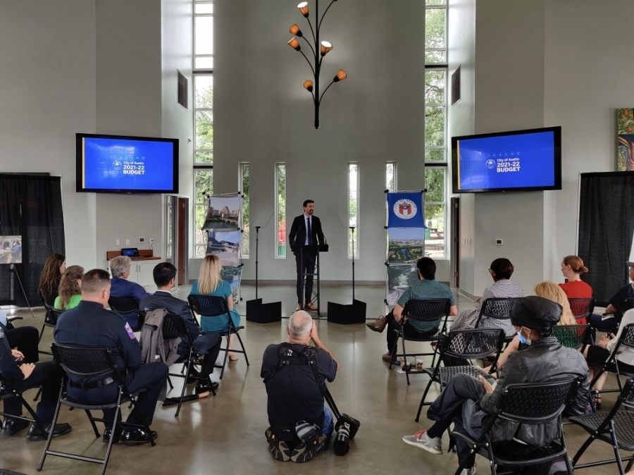 Austin City Manager Spencer Cronk presented the city's proposed fiscal year 2021-22 budget at Community First Village July 9. (Ben Thompson/Community Impact Newspaper)