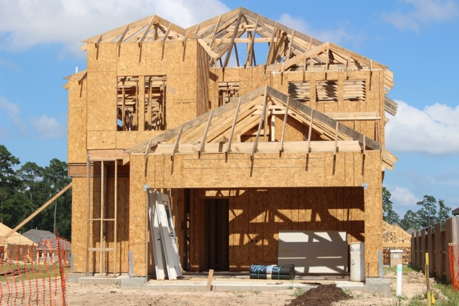 Homes are under construction east of I-45 in areas including along Birnham Woods Drive. (Andrew Christman/Community Impact Newspaper)